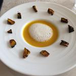ラ マティエール エフ - 小田原産くりあじかぼちゃのスープ ブイヨンバターの泡