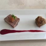 ラ マティエール エフ - イノシシのパテ リンゴジャム いのししのコロッケ ビーツのソース