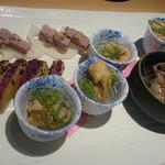 鶏っく  - 前菜(鶏のパテ・ド・カンパーニュ&酢蓮根マスタード、秋刀魚甘露煮、薩摩芋のレモン煮、鶏の南蛮漬け)