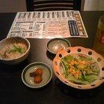 きらく  - かやくご飯+漬物+サラダ+ソフトドリンク(セットで250円)