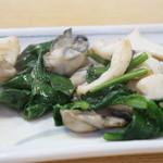 辨慶 - 牡蠣とゲソとほうれん草のソテー(2014.12.4)