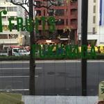 フルーツパーラーフクナガ - 二階へと続く踊り場から外の風景