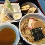セーブル - にぎわい御膳のミニ蕎麦と天ぷら。デザートはどら焼き。