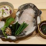 Ginzayoshizawa - ひらめの刺身、寒ブリの漬け
