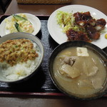 浜松屋食堂 - 【再訪】イカフライ+ポテサラ+納豆+豚汁+ライス