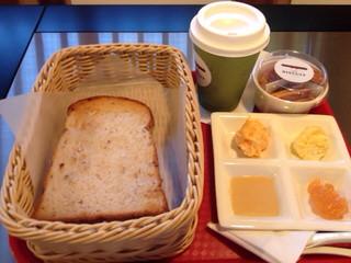 カフェ ビスキュイ - トーストセット、クルミパン、ディップ4種類、ホットミルク、ビスケットのセットです。
