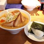 麺家 喜多楽 - 冬季限定 2014 味噌らぁ麺 『HAKUJYU』 炙り肉盛+おにぎり☆