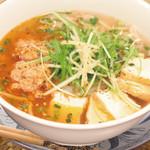 ニャーヴェトナム・フォー麺 - ピリ辛豚挽肉と厚揚げのフォー
