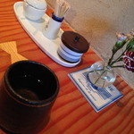 蕎麦切り 旗幟 - テーブルセットと蕎麦茶