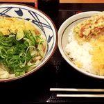 丸亀製麺 - (2014.12)ぶっかけ+天丼ごはん+えび天+チーちく磯辺天。計710円