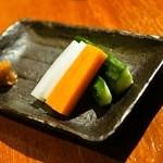 焼き鳥 丈参 - 2014.12 お通し(値段不明)の野菜スティック