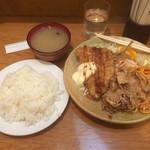 アレックス - Aランチ 豚肉の生姜焼とアジフライ ライス大盛 720+100円 2014.12