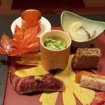 33274708 - 八寸(琥珀寄せ、松風焼、菜の花白和え、牛味噌漬け、唐墨大根、氷頭甘酢浸し)