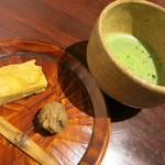 潤菜 どうしん - 抹茶と安納芋のケーキ、栗の茶巾。