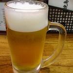 丸万焼鳥 - 生ビール(中)