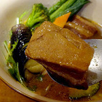 カリーキュー - 角煮野菜1280円 スープ=まうんてん、辛さ=5合目、ライス=黒岳