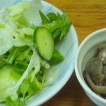 酒処かくえい - ランチ サラダと豚肉とナスの煮びたし