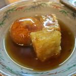 魚菜料理 赤井 - 中皿のさつまいも団子と大根もち揚げ出し。