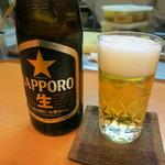 魚菜料理 赤井 - 瓶ビール650円。