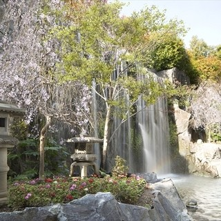 ガラス窓から臨める高さ7メートルの荘厳な滝