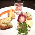 Ginsai 銀座 - 美肌ランチコース 1980円 の産直野菜のひと口オードブル5種