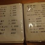 33367496 - 基本メニュー。これ以外にもその日仕入れた食材や、予約すれば鍋も可能だとか