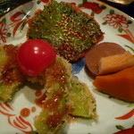 知伽良 - 【じゃがいものチヂミ大葉乗せ・ゴーヤのフライ・野菜の煮物】