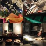 サツマ - 左上:開店祝いのお花 右下:鉄板で海鮮料理を焼くご主人