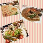 韓国家庭料理 マンナ - カイセンチヂミ チャプチェ サラダ