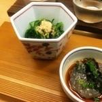 仙や - お通しは、おかひじきのお浸しに生白魚のポン酢醤油