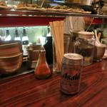 陶カフェ - ビールは缶ビール。自家製塩辛は撮り忘れ。