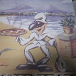 ラ・ピッコラ・ターヴォラ - テイクアウト用のケースに描かれた楽しい絵。