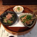 33423961 - 惣菜三種(卯の花、小アジの南蛮漬け、水菜のおひたし)