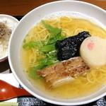 ねぎま - 鰹だし鶏和麺_500円、ちりめん山椒飯_150円