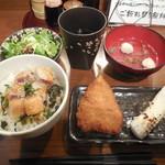 魚串さくらさく - まぐろレアカツ丼と2種の魚串 ¥800-→¥500-