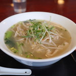 健康中華 青蓮 - 白と青の葱入り鶏そば定食 の 葱入り鶏そば (2014/11)