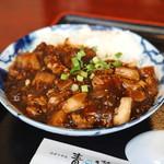健康中華 青蓮 - 白と青の葱入り鶏そば定食 の 麻婆丼 (2014/11)