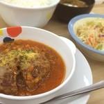 松屋 - 香味野菜のミートソースハンバーグ定食