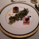 33441976 - 野菜のテリーヌとフォアグラのテリーヌ 香草サラダとフランス産キャビアを添えて