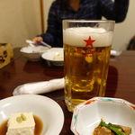 佐八 - お通しはチャーシューと胡麻豆腐