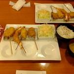 串揚げ 起世 - 串カツ定食:串8本:ごはん・お味噌汁付き:730円 ※税込最初の4本~