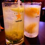 ホルモン青木 - 生搾りレモンサワー&生搾りキウイサワー