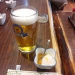 十兵衛 - 生ビール大(650円)とお通し(温泉卵)