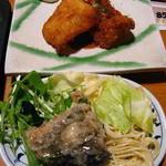 波平キッチン - 日替りランチ700円:メンタイのフライ・刺身・茶碗蒸。惣菜サラダサービス付。