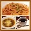 Ameya食堂 - 料理写真:喫茶店ランチ!ミネストローネあったまるぅ  トマトソースパスタもチーズたっぷりで美味しいょ(-_^)。 東横線菊名駅前の昭和な喫茶店。