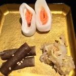 西利 - 千枚漬けサーモン/胡麻牛蒡/白菜浅漬山椒炒め