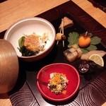 琴平花壇 - 渡り蟹ジュレ掛け、柿玉子、鳴門金時煮凍り、菊花白和え