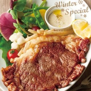 国産牛ロース肉のステーキ彩り野菜のバーニャカウダと共に