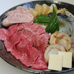 ぽんぽこ本゜舗 - 鉄板BBQ 和牛・海鮮入り5点盛り(3人前盛り例)