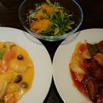 su-tsuxankyuiji-nushisenryourii-fu- - 今週の定番酢豚と、チョイスの海老マヨチリ炒めのダブルメインが嬉しいビジネスランチ900円